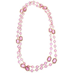 Chanel Sautoir Pink Glass Chicklet Necklace