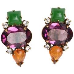 Iradj Moini Jewel Toned Rhinestone and Glass Clip On Earrings