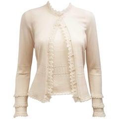 Oscar de la Renta Sweater Set w/ Faux Pearl Buttons & Knitted Ruffles