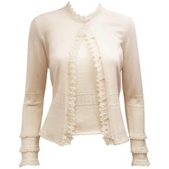 Oscar de la Renta Sweater Set w/ Faux Pearl Buttons & Ruffles Size Medium