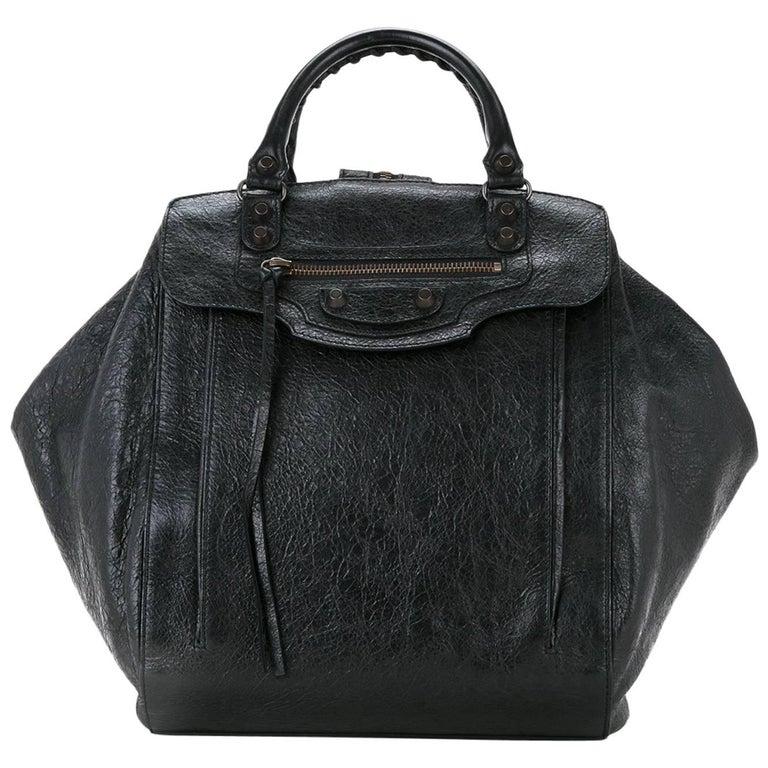 Balenciaga Black Leather Moto Unisex Top Handle Satchel Shoulder Backpack Bag