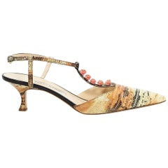 Multicolor Manolo Blahnik Exotic Kitten Heels