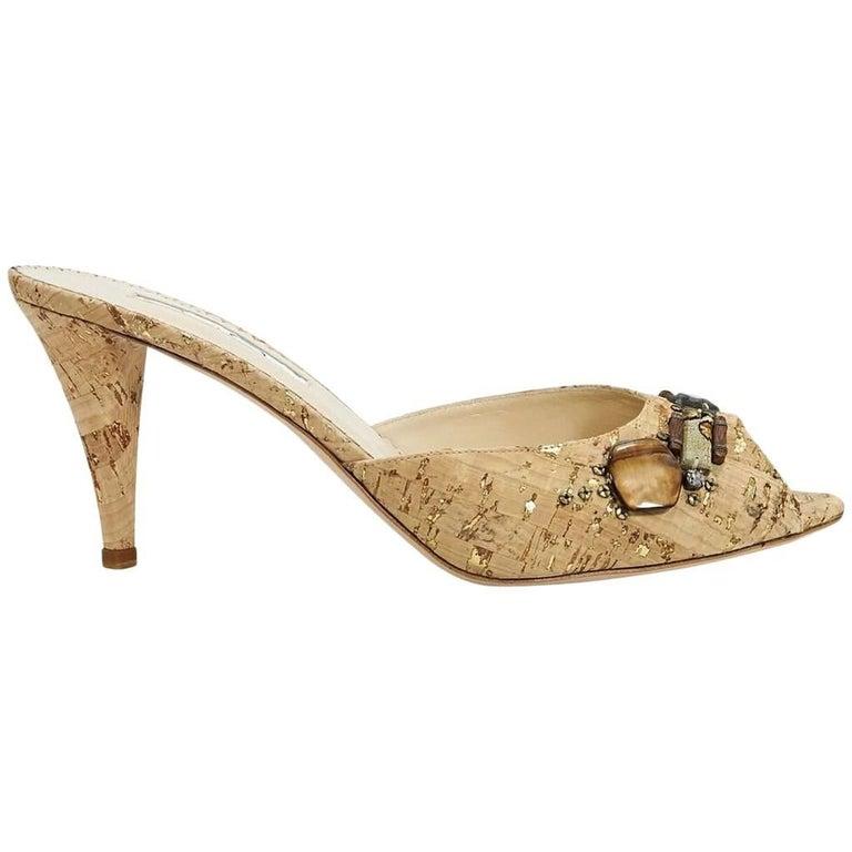 Tan Oscar de la Renta Embellished Cork Sandals