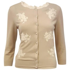 Valentino Taupe Sweater Set w/ Beige Lace Appliques & 8 Faux Pearl Buttons