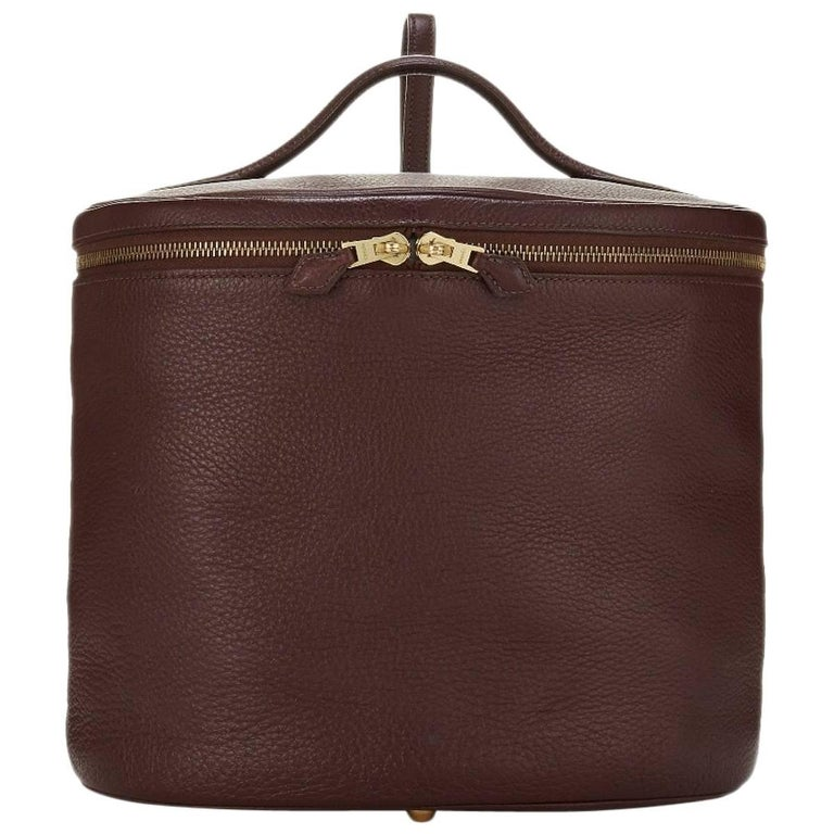 Hermes Brown Leather Vanity Jewelry Travel Storage CarryAll Handle Shoulder Bag