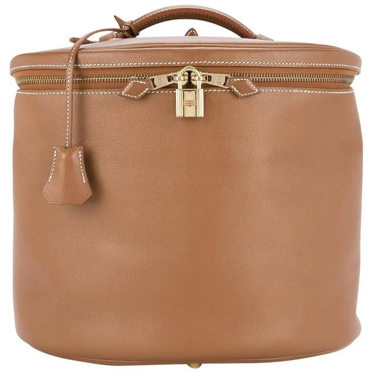Hermes Cognac Leather Vanity Jewelry Travel Storage CarryAll Handle Shoulder Bag