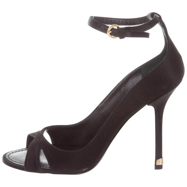Louis Vuitton New Black Satin Gold Metal Strappy Evening Sandals Heels