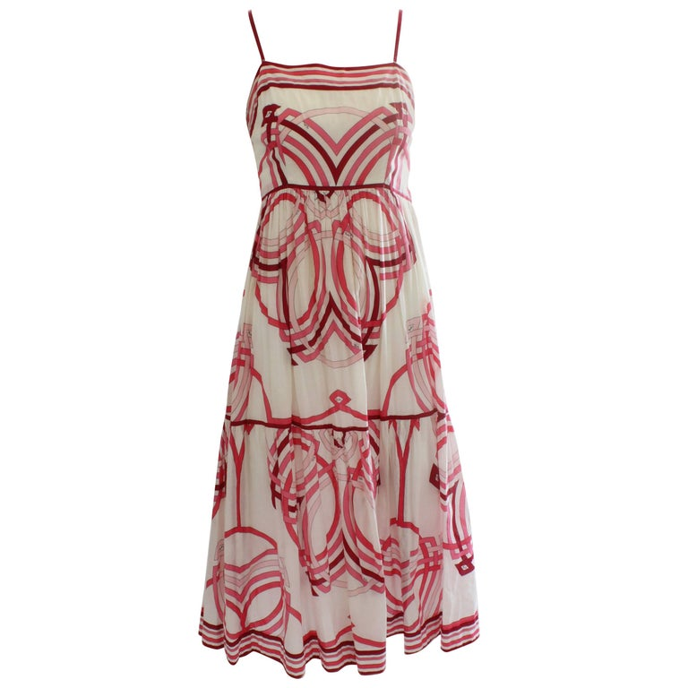 70s Emilio Pucci Cotton Sundress Pink and White Op Art Graphic Print Rare Sz 12