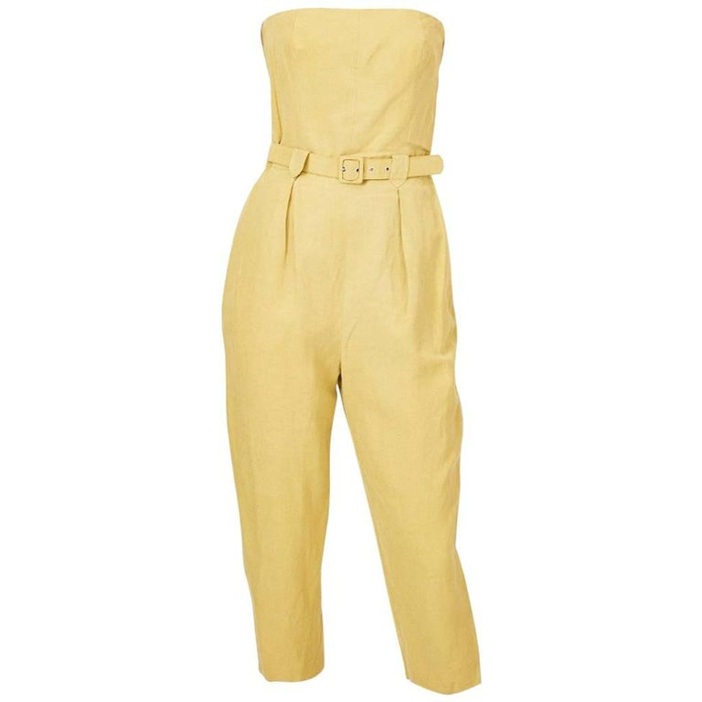Shamask Silk and Linen Strapless Jumpsuit