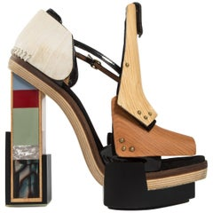 Balenciaga by Nicolas Ghesquière mixed media wooden block heels, A/W 2010