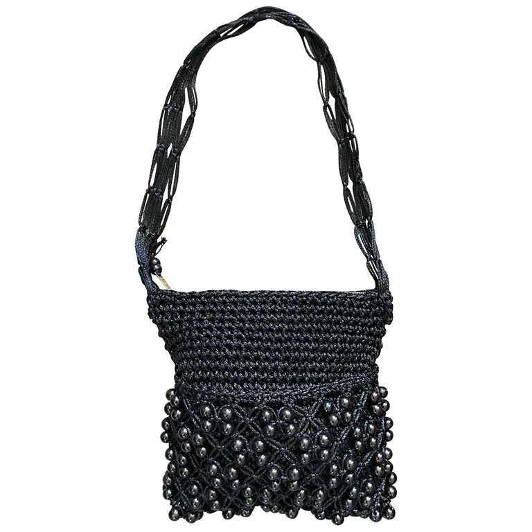 1970s Walborg Black Crochet Knit Beaded Vintage 70s Shoulder Bag Handbag Purse