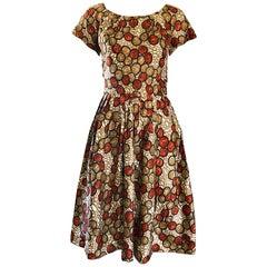 1950s Walnut Nut Print Fit n ' Flare Brown Beige Ivory Silk 50s Vintage Dress