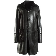 Dolce & Gabbana men's black leather and fur reversible coat, A/W 1998