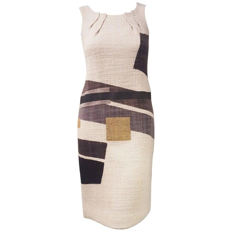 Etro Wool Geo Print Multi Color Sheath Sleeveless Dress