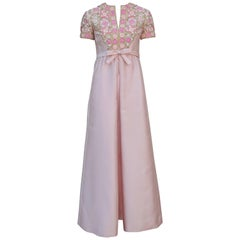 1960's Malcolm Starr Pink Beaded Evening Dress With Rhinestones