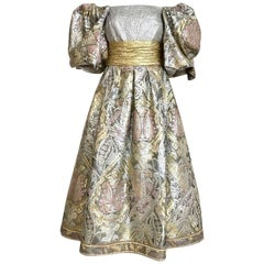 1980s Leonard Paris Metallic Pastel Brocade Floral Cocktail Dress