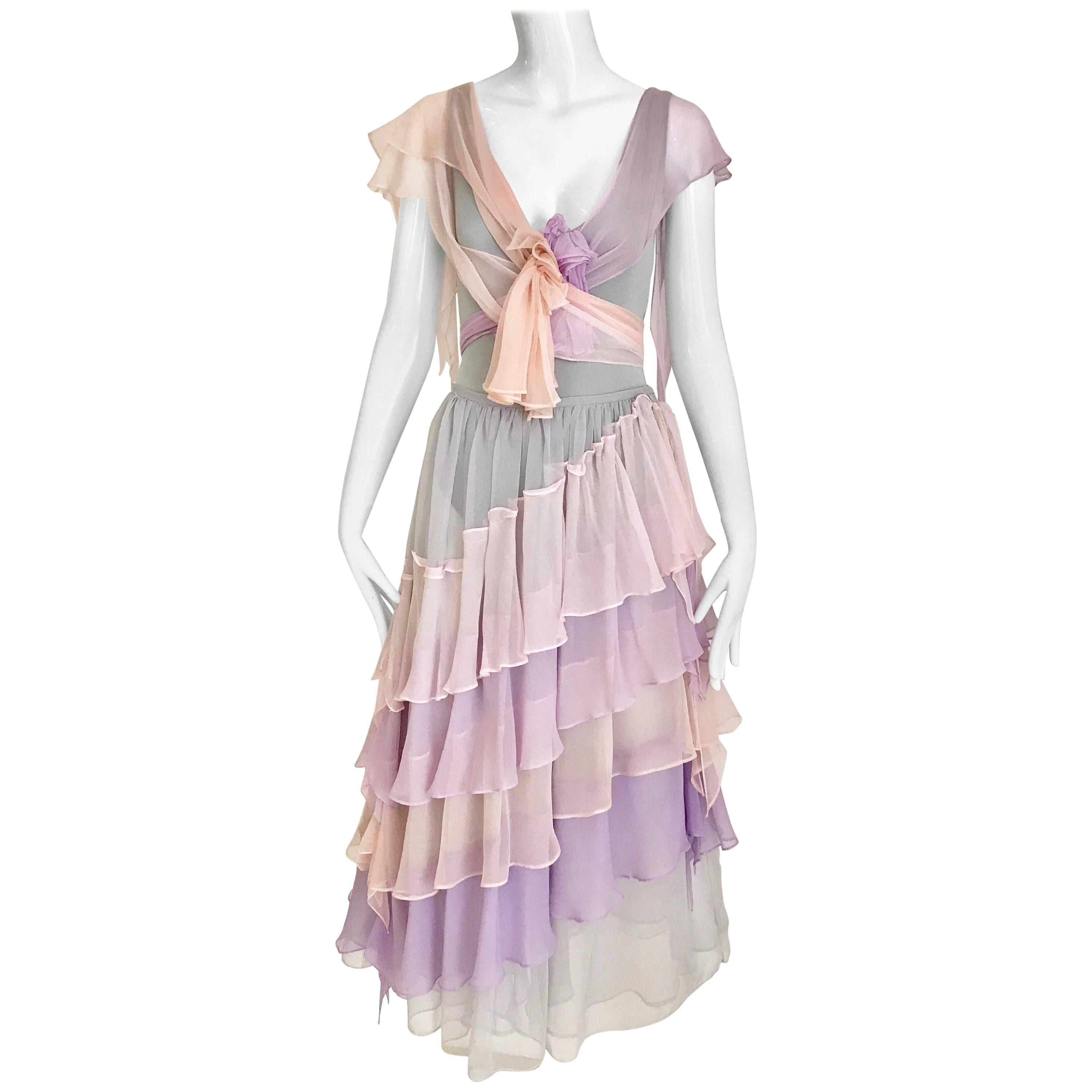 Giorgio di Sant'Angelo Lavender and Pink Bodysuit Skirt Set, 1970s