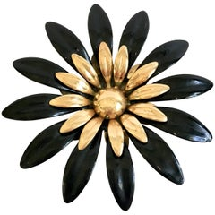 70'S Black Enamel & Gold Plate Flower Brooch By, Sarah Coventry