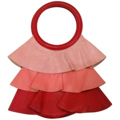 1990s Moschino Ombre Leather Ruffle Handbag