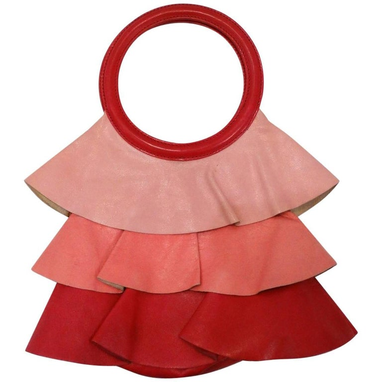 1990s Moschino Ombre Leather Ruffle Handbag For