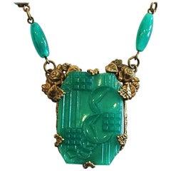 Art Deco Czech Peking glass necklace