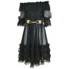 Zandra Rhodes Vintage Black Silk Cocktail Dress