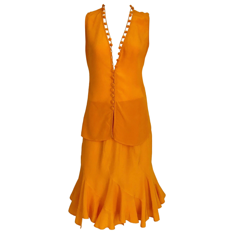 Yves Saint Laurent By Tom Ford Tangerine Silk Blouse and Skirt set