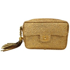 Chanel Gold Brocade Camera Bag with Tassel, 1990s