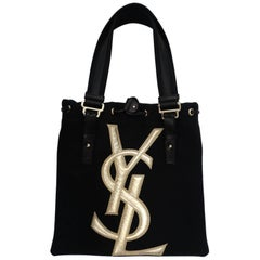 Yves Saint Laurent Canvas and Leather Tote, 1990s