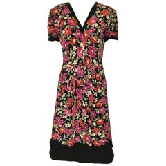1940s Multicolor Floral Print Rayon Dress