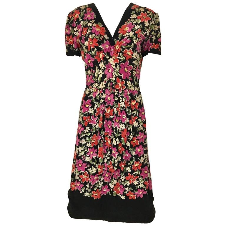 Multicolor Floral Print Rayon Dress, 1940s