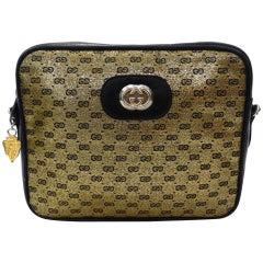 1980s Gucci Gold Monogram Shoulder Bag