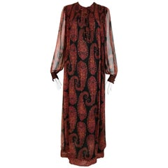 Treacy Loewe Multi Color Paisley Print Maxi Dress