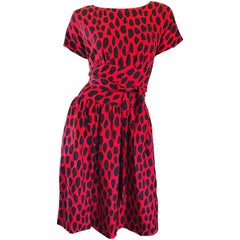 Rare Norman Norell Late 1950s Red + Black Leopard Print Silk Vintage 50s Dress