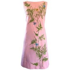 Chic 1960s Pale Pink Trees + Embrodiered Butterflies Novelty Vintage Shift Dress