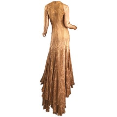 Sensational 1990s Bill Blass Couture Nude Silk Chiffon Paisley Vintage 90s Gown