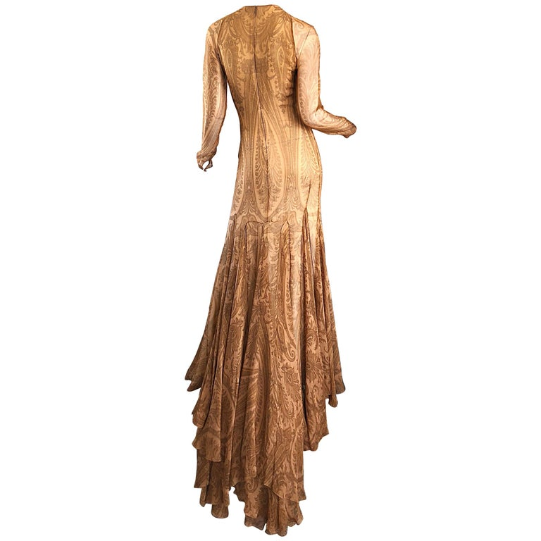 Sensational 1990s Bill Blass Couture Nude Silk Chiffon Paisley Vintage 90s Gown  For Sale