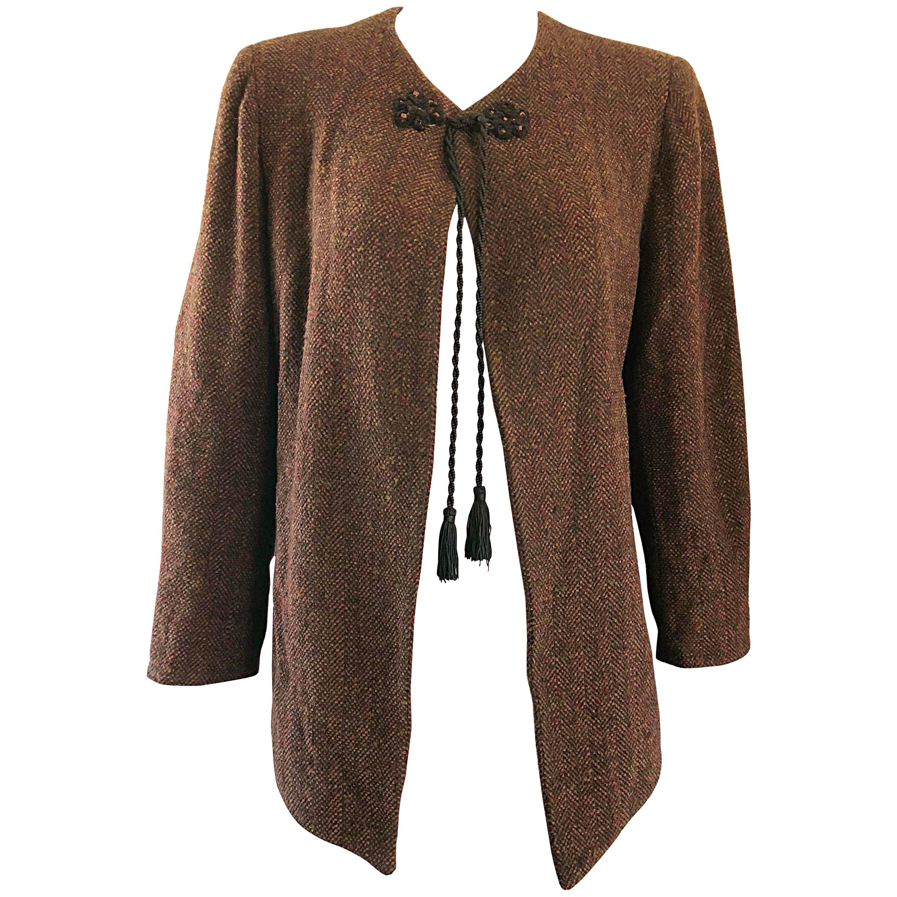 1990s Emanuel Ungaro Brown Wool Vintage 90s Tasseled Russian Swing Jacket