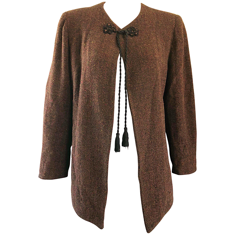1990s Emanuel Ungaro Brown Wool Vintage 90s Tasseled Russian Swing Jacket
