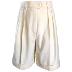 New w/ Tags Vintage Escada 1980s Ivory Wool Vintage Wide Leg Culottes 80s Shorts