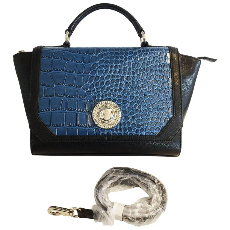 Versace Jeans Crocodile Embossed Top Handle Trapeze Shoulder Bag   Handbag  For Sale f6fa197d52