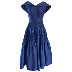 1950s Demi Couture Navy Blue Silk Shantung Vintage 50s Nautical Dress