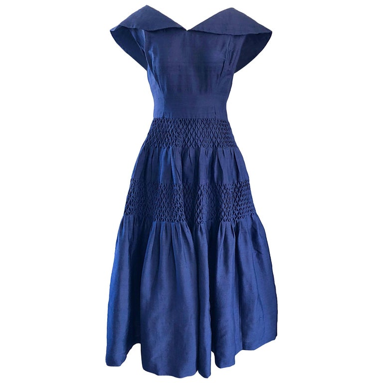1950s Demi Couture Navy Blue Silk Shantung Vintage 50s Nautical Dress For Sale