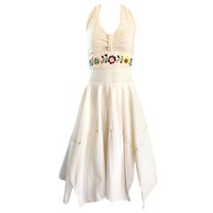 Amazing 1970s Ivory Cotton Embroidered Handkerchief Hem Vintage 70s Halter Dress