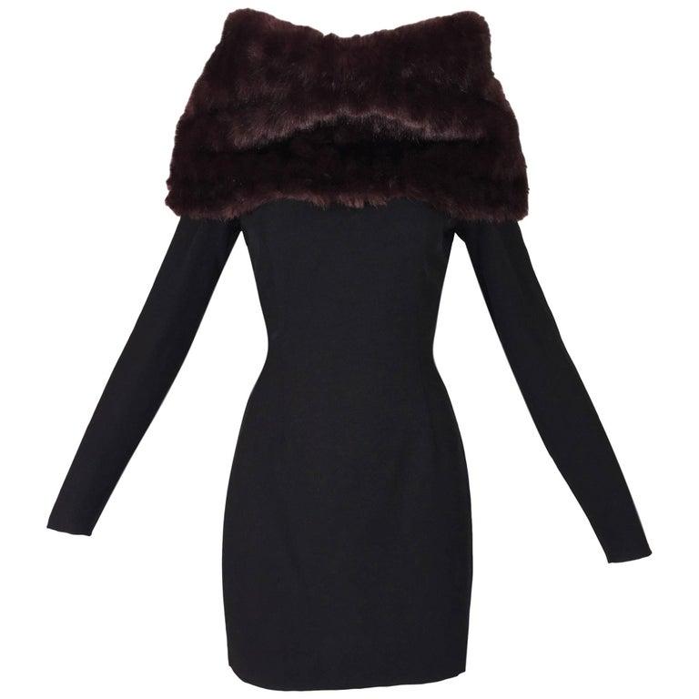 Dolce & Gabbana Brown Faux Fur Black Long Sleeved Mini Dress, S / S 1995