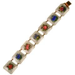 Bernard Meldahl Hallmarked Silver Norwegian Panel Bracelet, 1940s