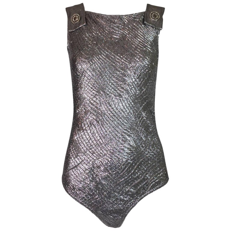 Gianni Versace Couture Metallic Silver Pinafore Bodysuit Top, 1994