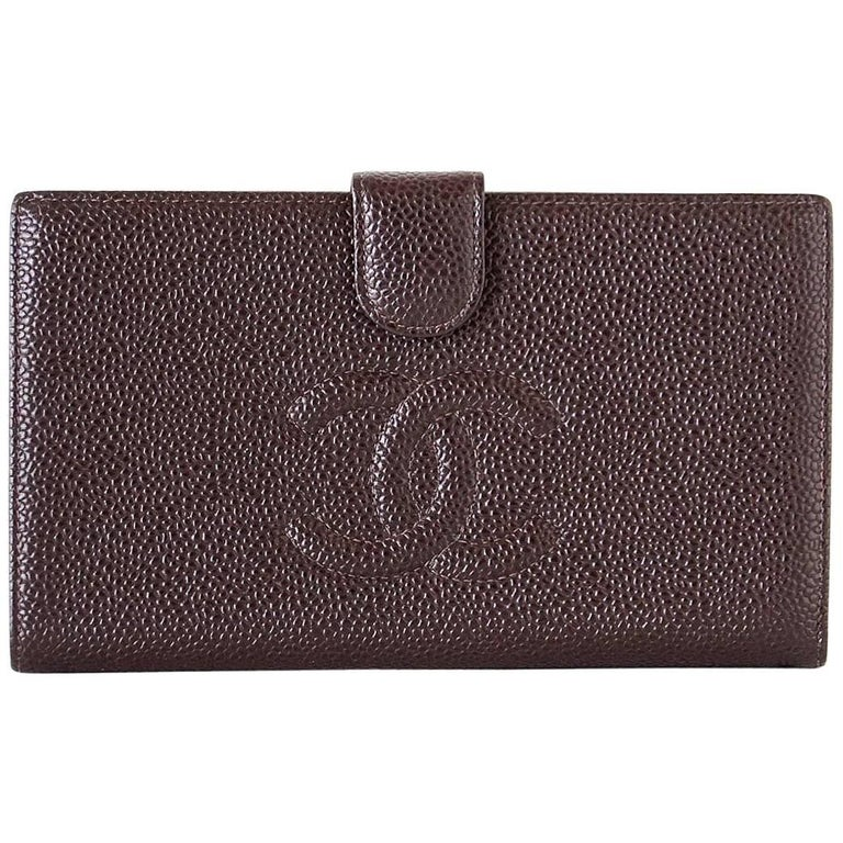 Chanel Wallet Vintage Brown Long Bifold Subtle CC Logo Caviar Leather