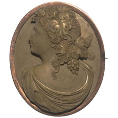 Antique Victorian High Relief Lava Cameo Brooch