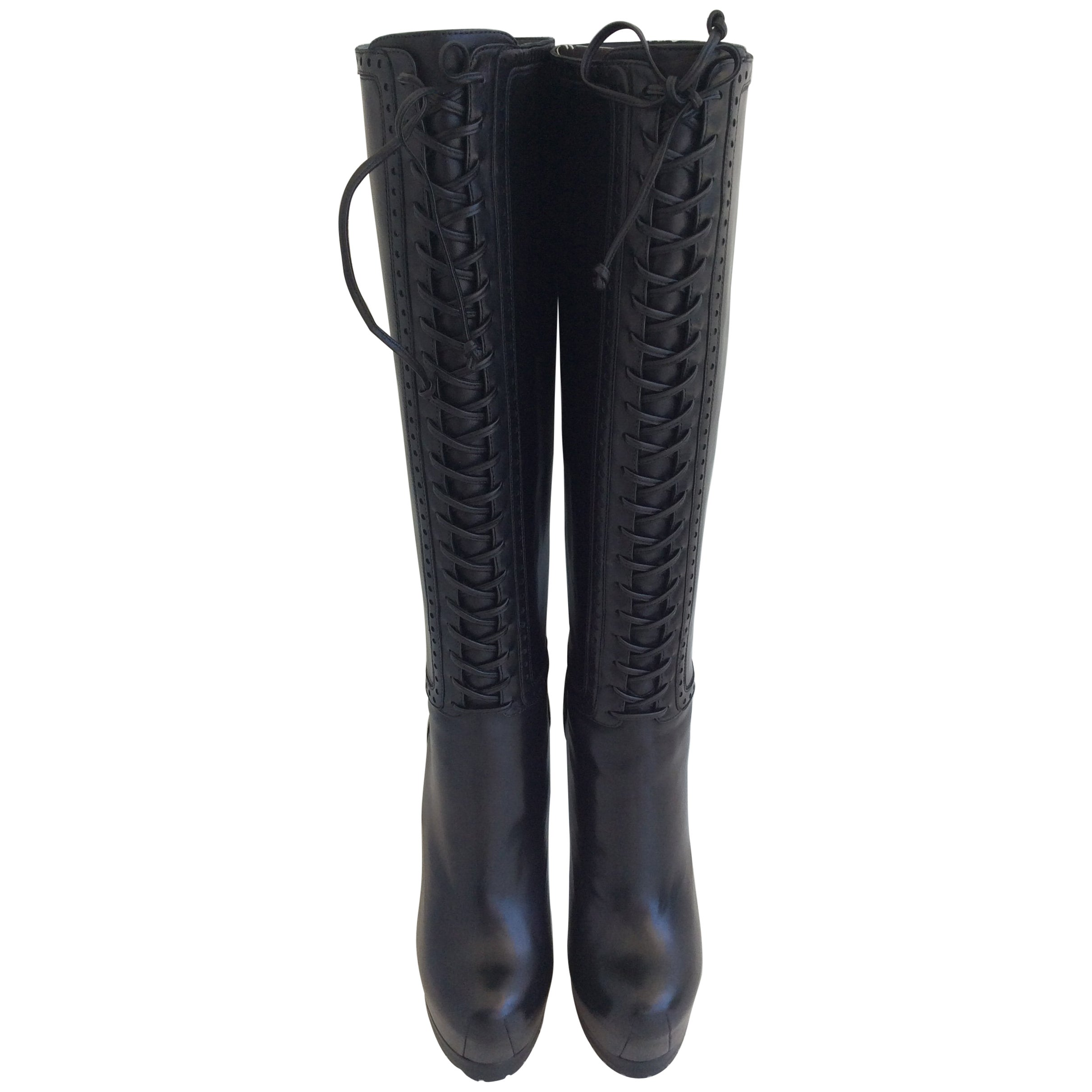 6117967bdf85 Yves Saint Laurent Black Leather Tribute Lace Up Platform Boots For Sale at  1stdibs